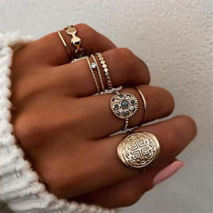 ZORCVENS New Design Gold Color Punk Vintage Blue Stone Cross Flower Wedding Ring for Woman 6pcs/set Retro Ring Set Dropshipiing