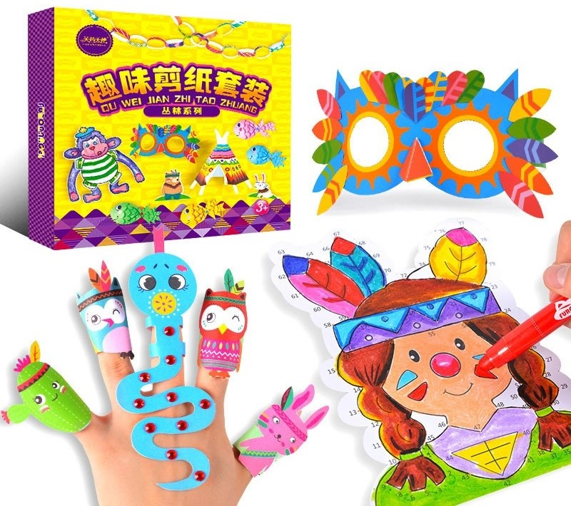 109pcs Children Card Puzzle Paper Model Toy Baby Animals Character Paper Cutting And Folding Painting Craft DIY Educational Toy