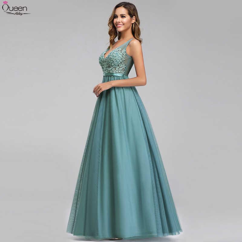 מאובק כחול ערב שמלות ארוך אונליין V-צוואר אפליקציות סקסי ללא משענת ללא שרוולים לבוש הרשמי אלגנטי המפלגה כותנות Robe De Soiree