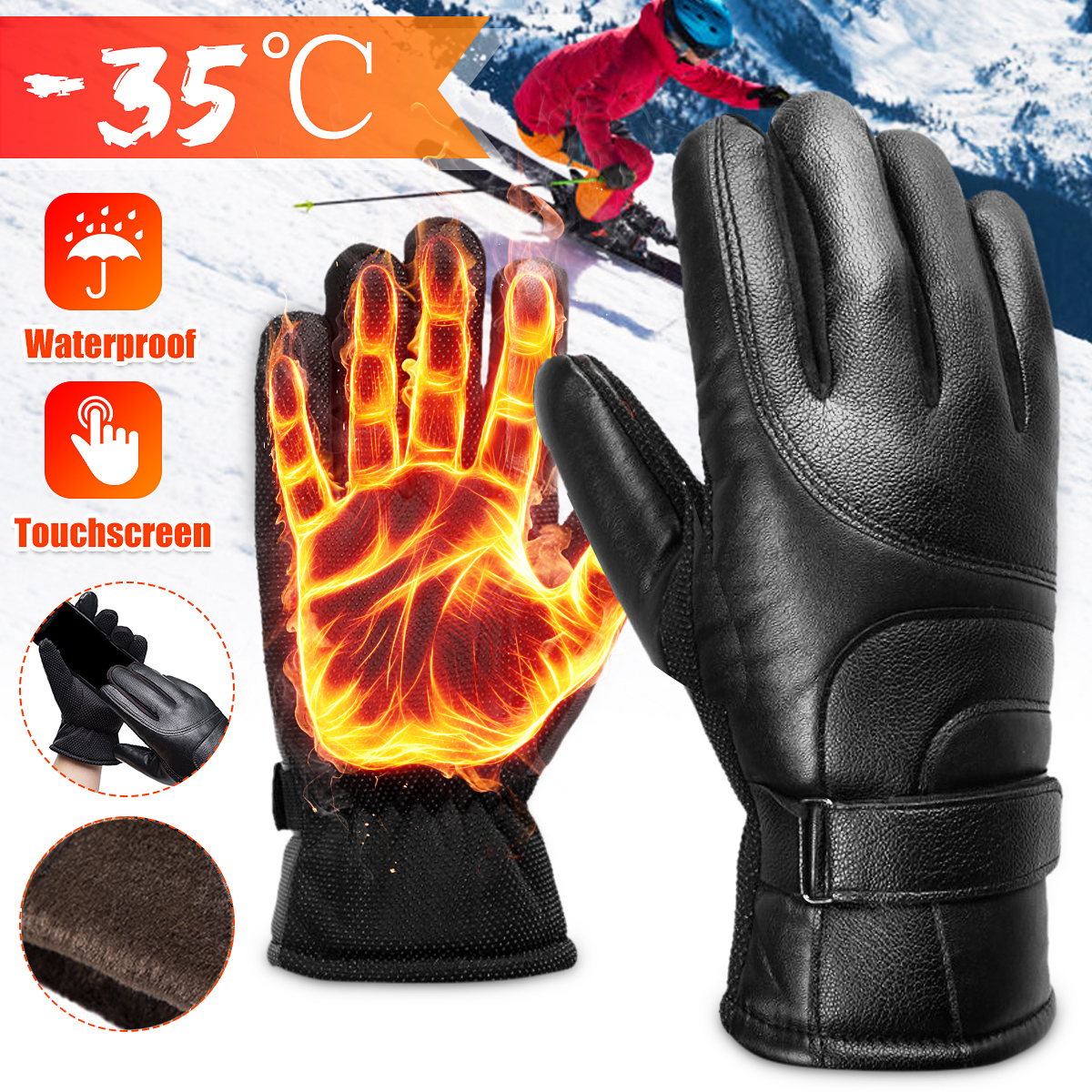 Motorcycle Gloves Men Racing Moto Motorbike Motocross Riding Gloves Motorcycle Winter Warm Thermal Full Finger Guantes image