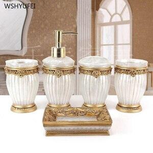 Image 1 - 패션 고품질 수 지 욕실 5 조각 세트 위생 도자기 키트 욕실 워시 세트 욕실 세트 비누 접시 아름 다운