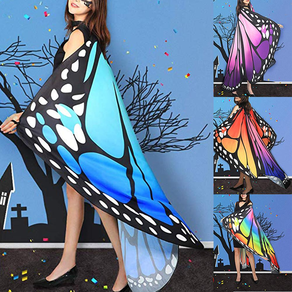 Women Big Butterfly Wing Shawl Cape Fairy Cosplay Pashmina Halloween Costume Wrap Gifts Cute Novelty Print Scarves