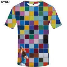 KYKU Brand Rubik'S Cube T shirt Men Tetris Anime Clothes Russia Tshirts Casual Colorful T-shirts 3d Graffiti Tshirt Printed цена