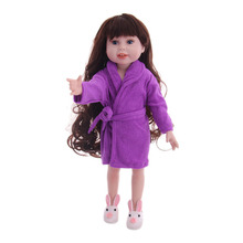 6pcs/American doll accessories plush warm robe for 18-inch American doll and 43cm baby doll clothes, best gift for children doll clothes accessories white down jacket fit 18 inch american girl doll clothes best gift for