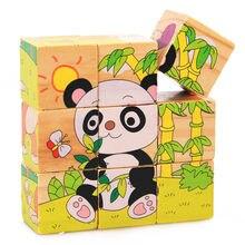 Puzzle en bois dessin animé pour enfant, jouet à 6 faces, fruits, animaux, dominos, cadeau, 9 pièces