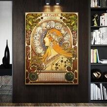 Alphonse Mucha impression artistique sur toile, Illustration célèbre pour décoration de la maison, art classique Nouveau