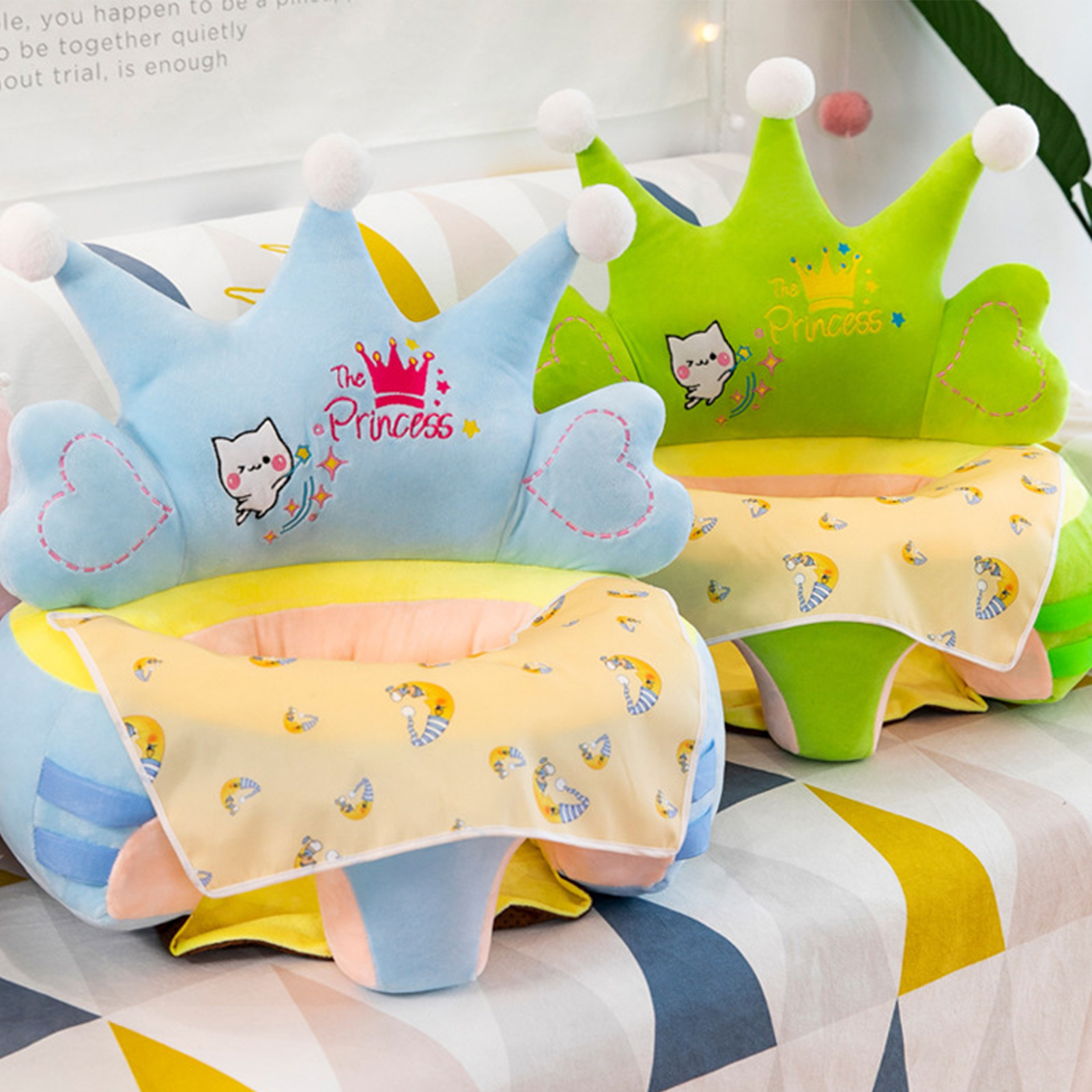 Plush Chair Baby Sofa Support Seat Cover 0-3Y Baby Sofa Support Seat Cover Washable Toddlers Learning To Sit