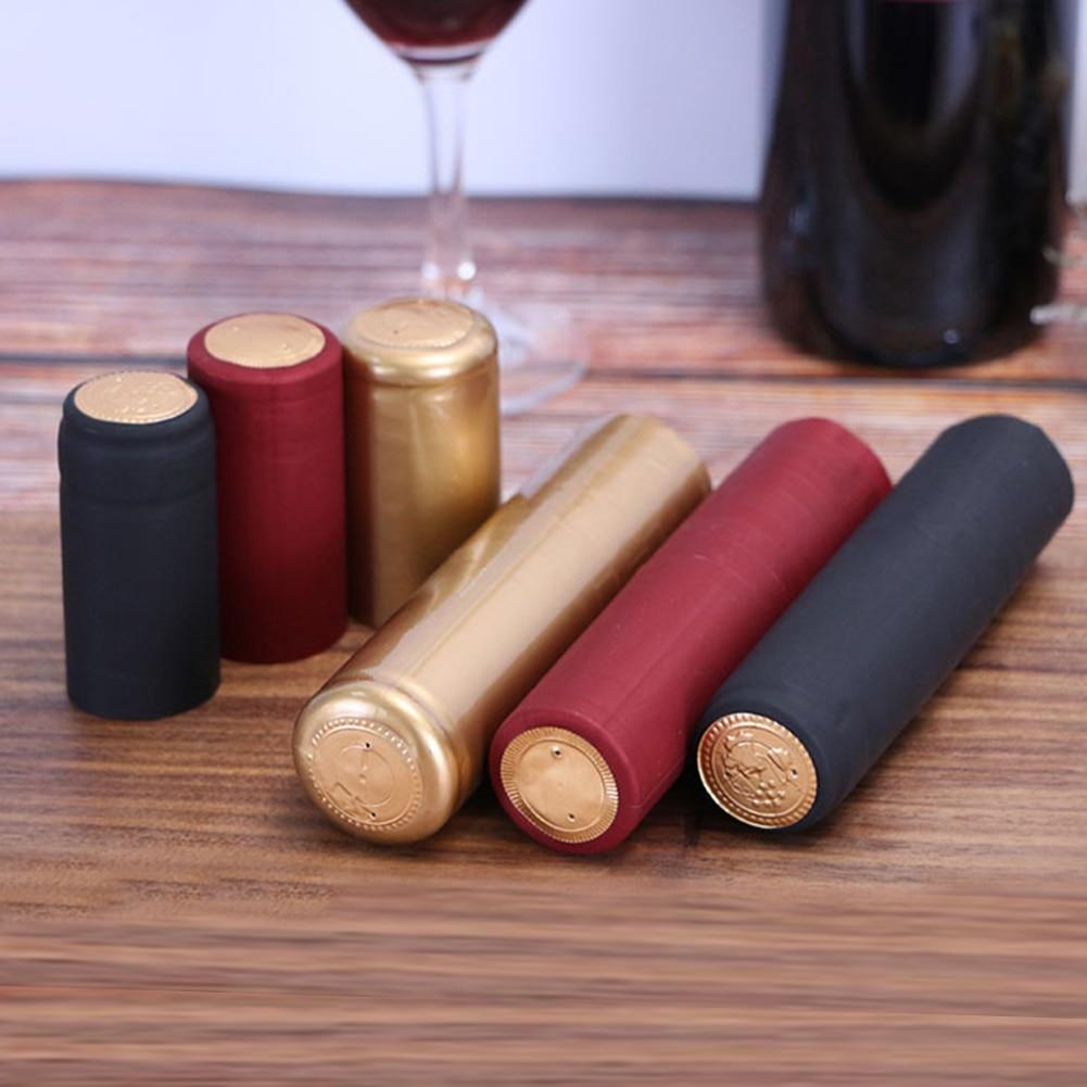 50pcs Novelty Pro Wine Bottle Heat Shrink Capsules Plastic Caps Wine Cellars Bottle Shrink Film Shrinkable Sealing Cap