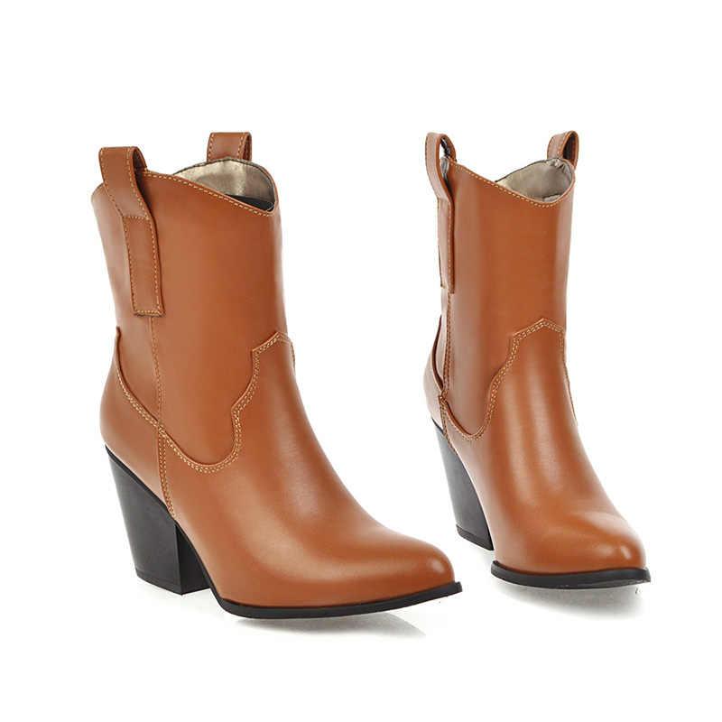 WETKISS Batı Çizmeler Kadın Yüksek Topuklu bileğe kadar bot Kadın Kovboy Ayakkabı Bayanlar Sivri Burun PU ayakkabıları Kış 2020 Yeni