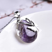 1PC Natural Crystal Mineral Ornament Butterfly Drop Pendant Aura Point Couple Pendant Necklace Pendant DIY Gift Jewelry