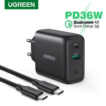 Ugreen 36W Quick Charge 3,0 4,0 USB PD Ladegerät QC 3,0 Ladegerät für iPhone 12X8 Telefon Wand USB Typ C Ladegerät für Huawei Xiaomi