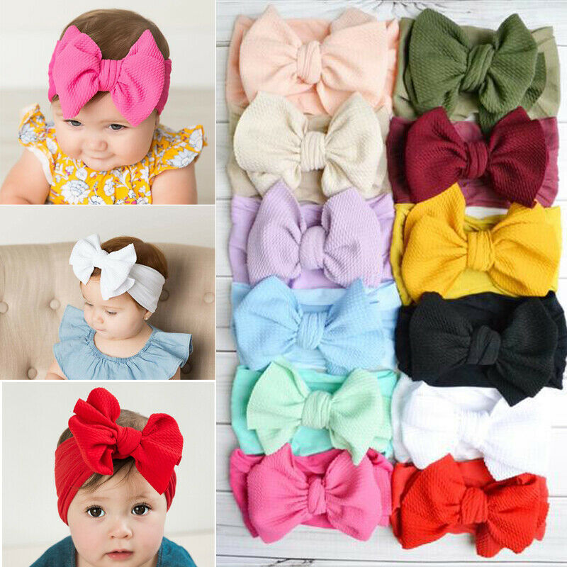 Pudcoco 2019 New Big Bows Headband For Girls Solid Large Hair Bows Elastic Turban Head Wraps Baby Kids Top Knot Hairband