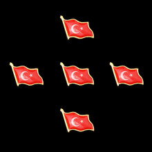 5 unids/set Asia Souvenir bañado en Oro turco bandera para agitar broche Lazo de la solapa sombrero/sombrero de vestir viajes Metal Pin con distintivo