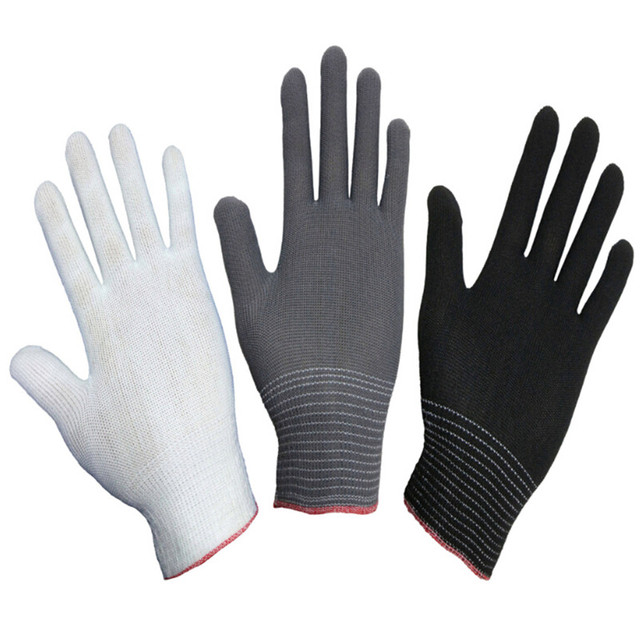 4pcs= 2 pairs White Black Nylon Antistatic Work Gloves Knit Working Gardening Lumbering Hand Safety Security Protector Grip