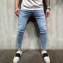Męskie solidne obcisłe dżinsy rurki moda Streetwear dżinsy Hip Hop Slim Fit ołówki spodnie dżinsowe dżinsy dla nastoletnich chłopców Plus rozmiar 3XL tanie tanio OLOME Zipper fly light skinny Midweight Pełnej długości NONE Stałe K020 Zmiękczania Ołówek spodnie Blue S M L XL XXL XXXL
