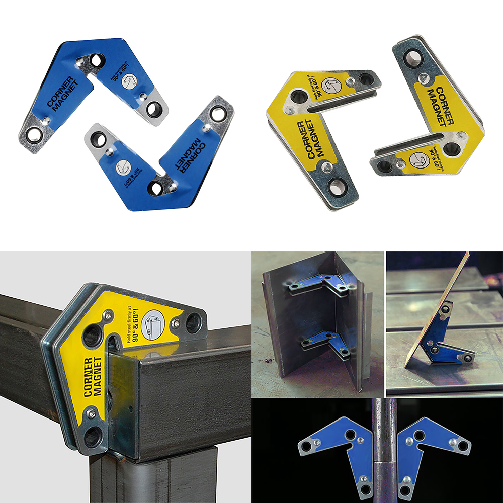 2pcs Dual-Use Welding Magnetic Holder Angle Fixer Position Welding Device Positioner 60/90 Degrees Yellow
