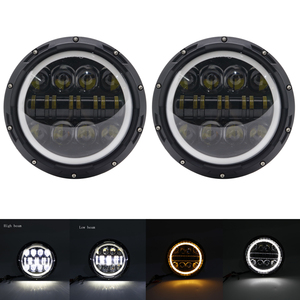 "Image 3 - 2X 7Inch LED Headlamps with Halo Ring Amber Turn Signal For lada niva 4x4 suzuki samurai 7"" LED DRL Halo Headlights For VAZ 2101"