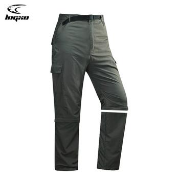 LNGXO szybkie suche spodnie do wędrówek pieszych mężczyźni Camping wędkarstwo polowanie spodnie odpinane oddychające spodnie taktyczne na zewnątrz Trekking szorty tanie i dobre opinie Zipper fly COTTON Poliester NYLON Pełnej długości Camping i piesze wycieczki Pasuje prawda na wymiar weź swój normalny rozmiar