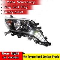 New Car Styling 2014 2017 for Toyota Prado Headlights LED Headlight ANGEL EYES DRL Bi Xenon Lens HID Automobile Accessories