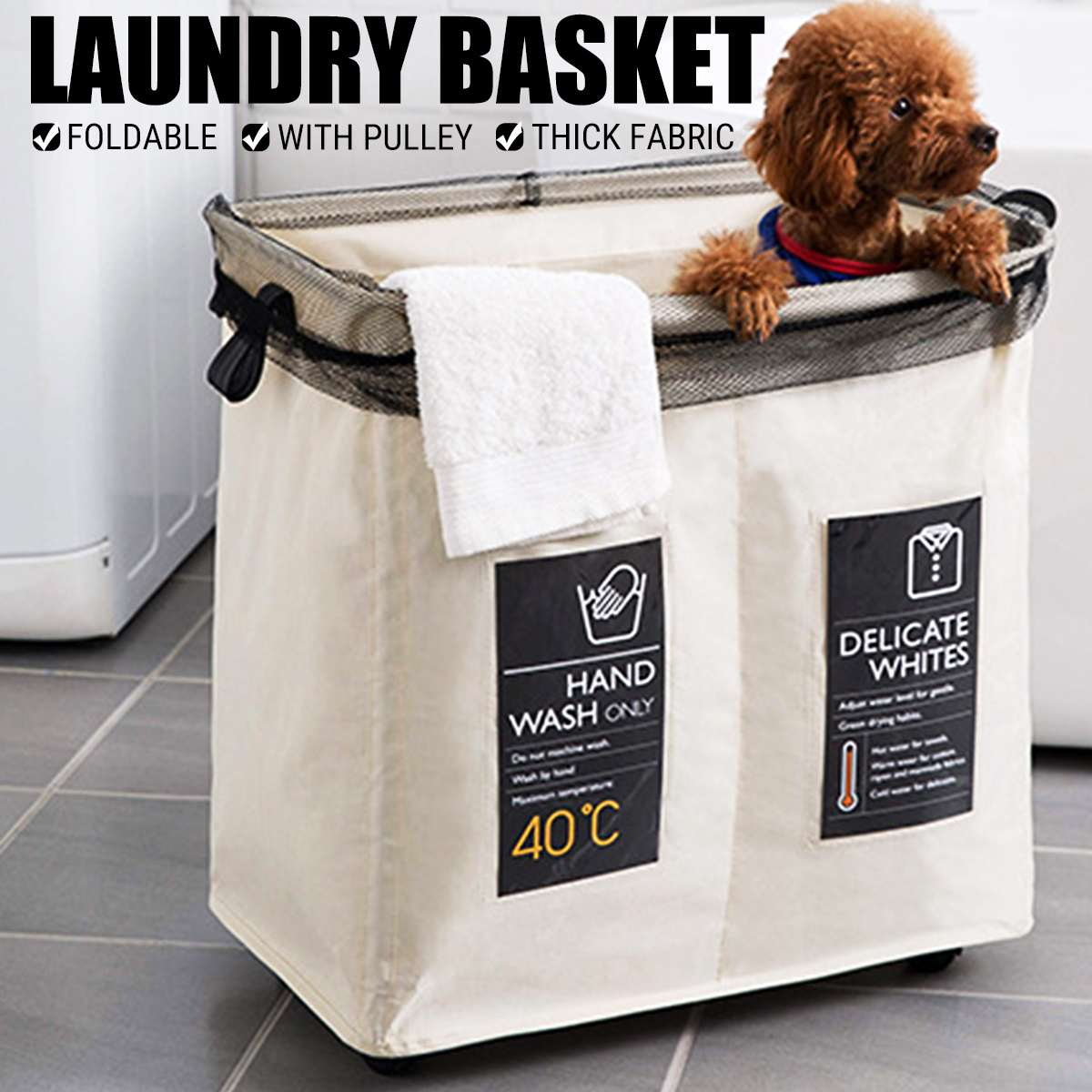 Waterproof Laundry Basket With Pulley Laundry Hamper Foldable Dirty Cloth Basket Bathroom Storage 2 Grid For Home