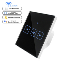 WIFI Smart Remote Touch Screen Sensor Switch LED Dimmer Switch Wall Glass Touch Dimmable Control Panel for EU / UK