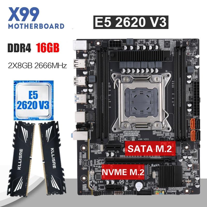 Kllisre X99 motherboard set with Xeon E5 2620 V3 LGA 2011-3 CPU 2pcs X 8GB =16GB 2666MHz DDR4 memory 1