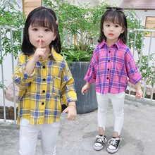 Little Girls Plaid Shirts Front Short Back Long Style Baby Girl Blouse Cute Girls Tops and Blouses Long Sleeve Collar Shirt 2-6T