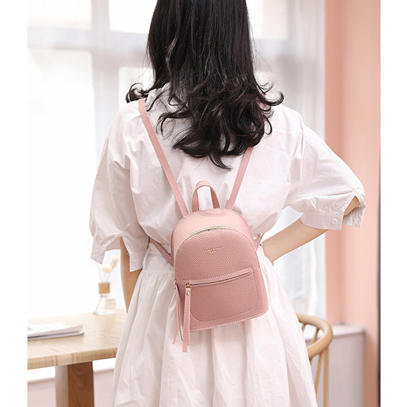 Fashion Brief Small Backpack Women Litchi College Style Shoulder Bag PU Leather Tassel Zipper Female Sweet Knapsack Ladies