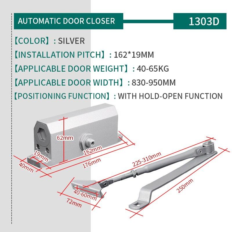 Купить с кэшбэком Silver Color 1303D Aluminum Alloy Door Closer Positioning 40kg-65kg Door Hydraulic Automatic Spring Mute Sliding Door Closer