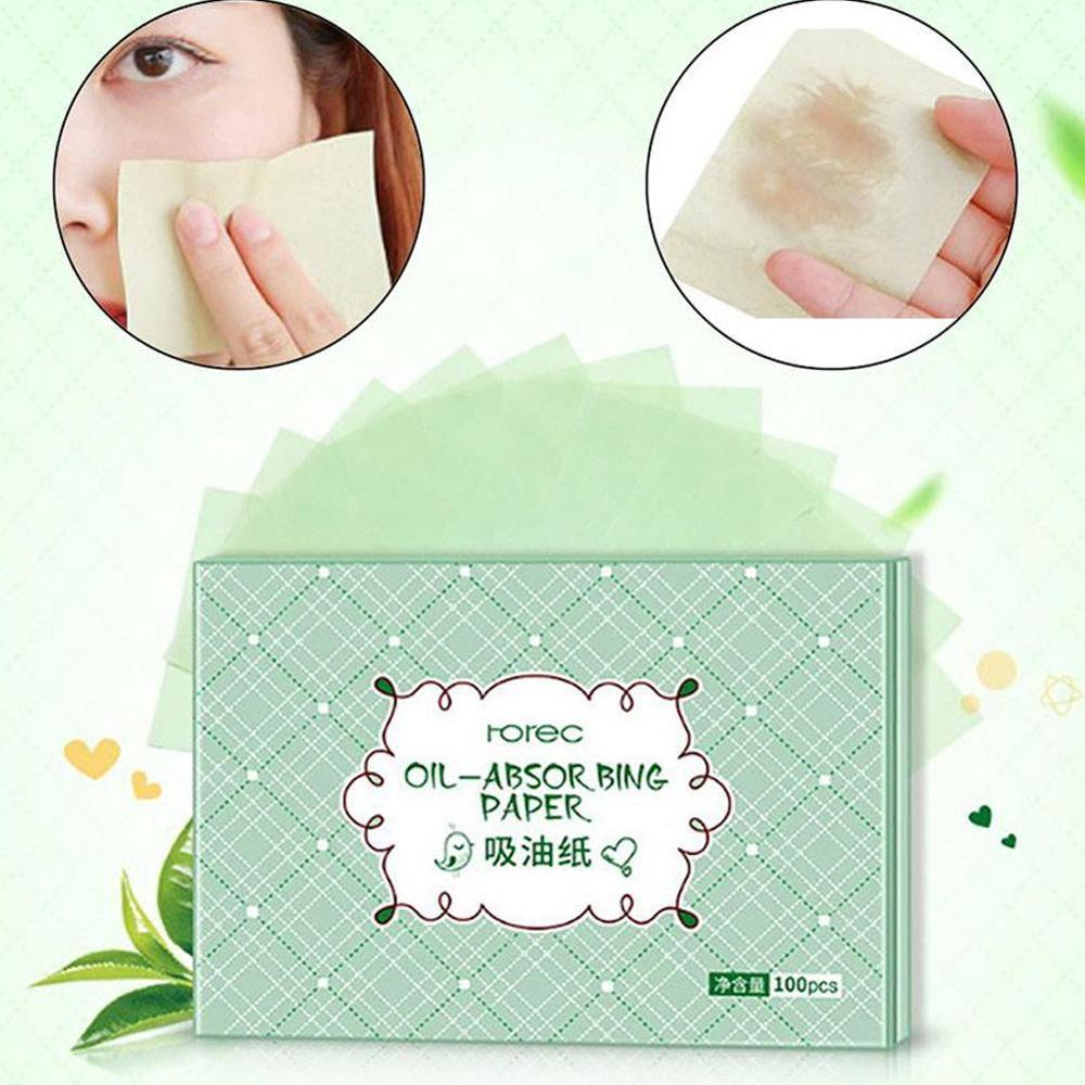 100Pcs Makeup Supplies Oil-absorbing Paper Oil Control Absorbent Cleaning Film Blotting Facial Paper Green Scent