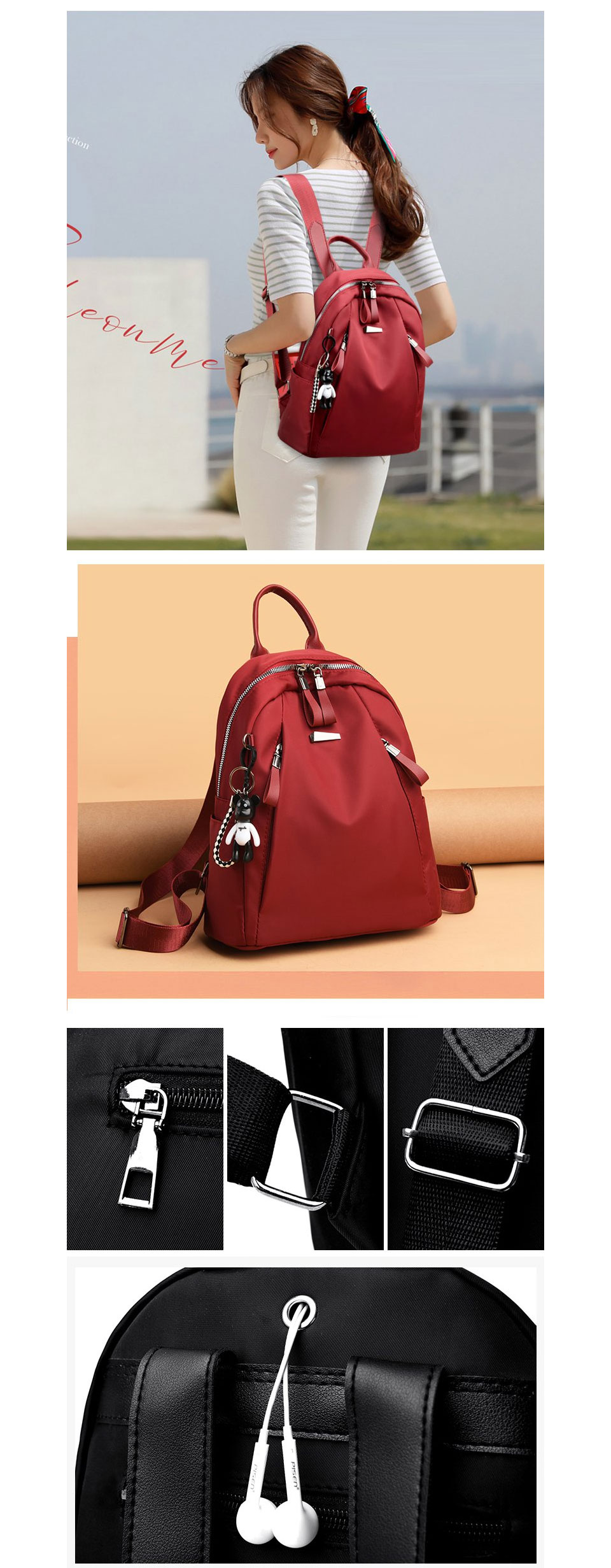 ACELURE Solid Color Large School Bags for Students Fashion High Capacity Backapcks for Women Men Teenagers Soft Polyester Bag