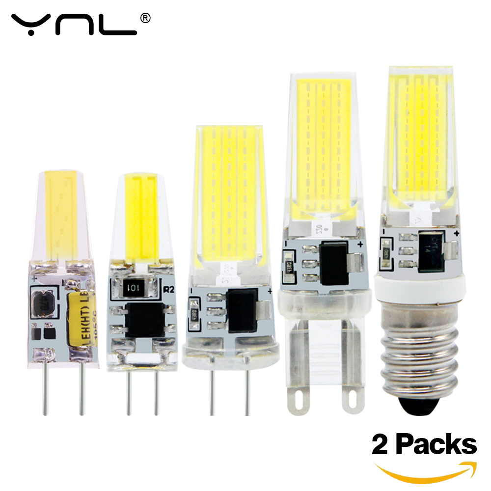 2pcs Lampada LED Lamp G4 G9 E14 220V AC DC 12V COB Bombillas LED Light Bulb Ampoule LED E14 G9 G4 COB Lights Replace 20W Halogen