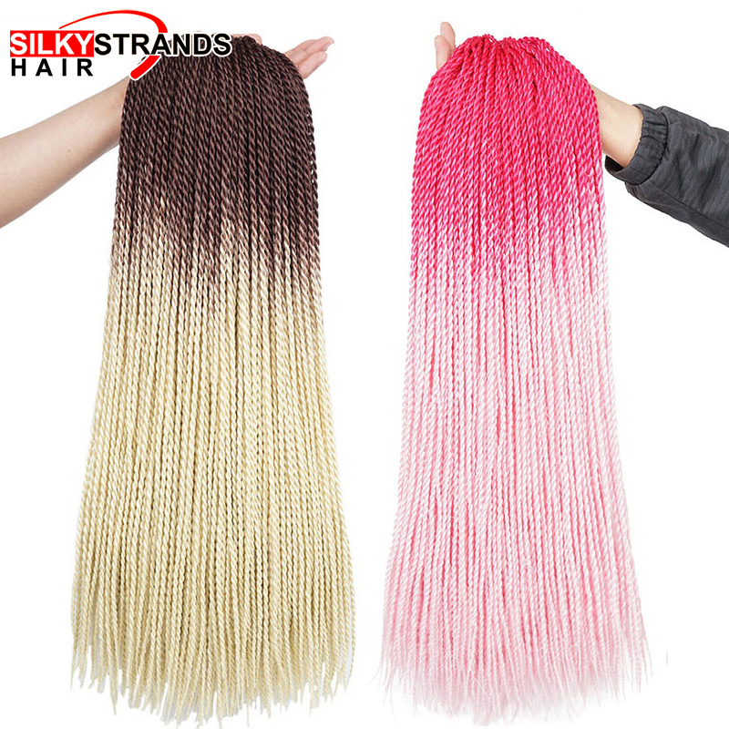 24 Inch Afro Ombre Senegalese Twist Crochet Hair Kanekalon Braiding Hair Pre Stretched Synthetic Hair Extensions For Braids
