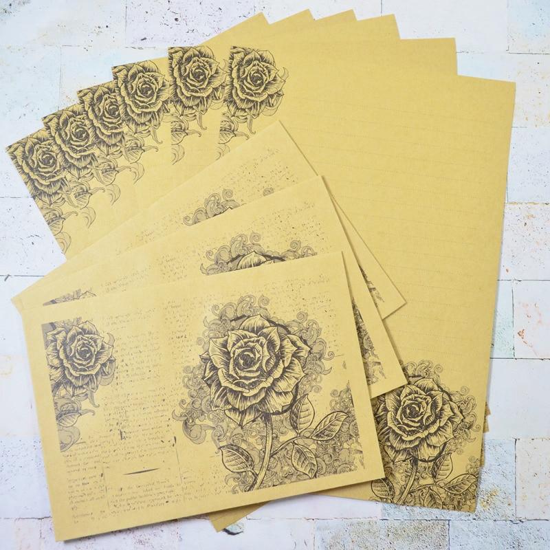 Romantic Rose Letter Paper Envelope Message Card Letter European Kraft Vintage Writing Love Paper Lettering Gift Letter Set