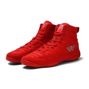 USHINE-zapatos de lucha profesional para hombre, zapatillas de entrenamiento de tendones, de cuero, antideslizantes, para boxeo