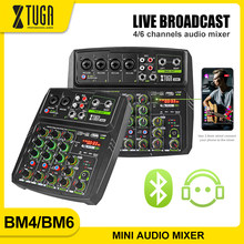 XTUGA Mixer Audio DJ Console with Mobile Phone Live Broadcast Function,Bluetooth,Monitoring,USB for PC Recording,Live Broadcast