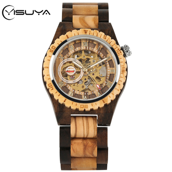 YISUYA Classic Hollow Out Automatic Watch Self-winding Mechanical Wooden Watch for Men Top Luxury Gold Skeleton Wood Wristwatch