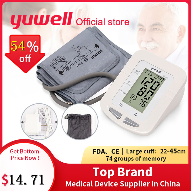 Yuwell 660B Arm Blood Pressure Monitor Large LCD Cuff Medical Nurse Device Sphygmomanometer Blood Pressure Home Health Dector image