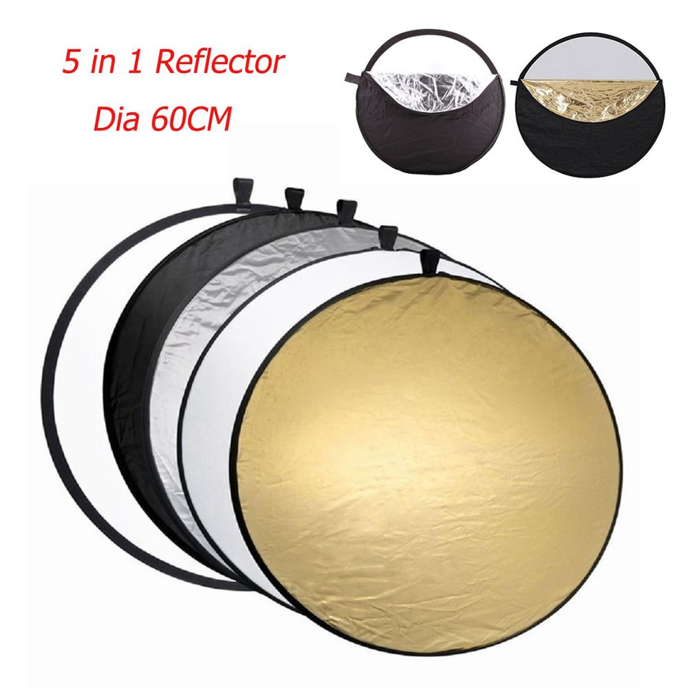 Gosear 5 in 1  60cm Round Collapsible Camera Lighting Photo Disc Reflector Diffuser Kit Carrying Case Photography Equipment