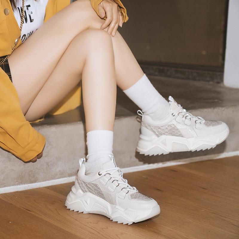 Повседневная Белая обувь; женские кроссовки на платформе; модная брендовая обувь из натуральной кожи; zapatos de mujer; женская обувь на толстой подошве; обувь для папы