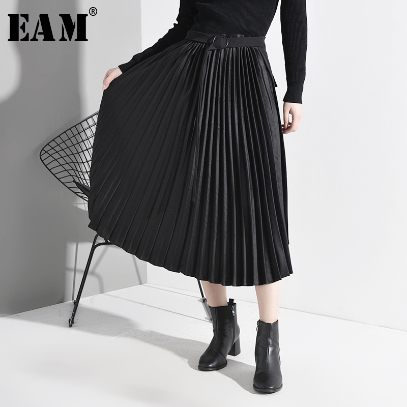 [EAM] High Waist Black Asymmetrical Pleated Temperament Belt Half-body Skirt Women Fashion Tide New Spring Autumn 2020 A779