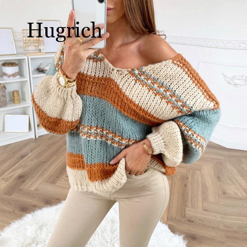 Autumn Winter Women Sexy V-neck Knitted Striped Sweater Loose Oversized Sweater Tops Long Sleeve Patchwork Pullover Sweaters