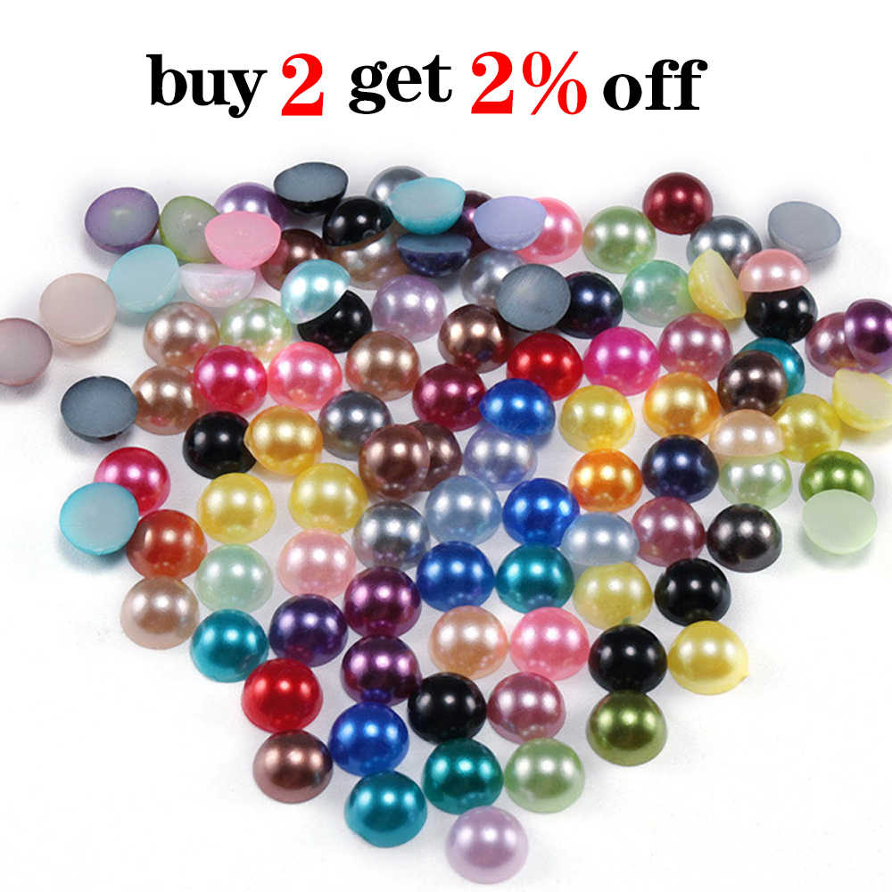 AB color Polished Half Pearls Nail Art scrapbook craft 2,3,4,5,6,8,10,12,14mm #1