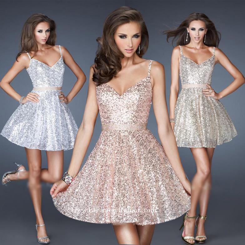 Free Shipping Vestido De Noiva Short Design 2018 Sexy Paillettes Brides Equipment Party Prom Gown Silver Bridesmaid Dresses