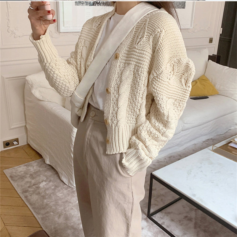 Hzirip Stylish Apricot Feminine Twisted Sweet Gentle Soft Brief Cute Puff-Sleeved Warm Cardigans All Match Solid Short Sweaters