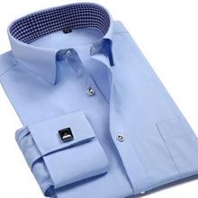 French Mens Tuxedo Shirts With Cufflink Yellow Slim Fit Plus Size Luxury Wedding Business Stylish High Quality