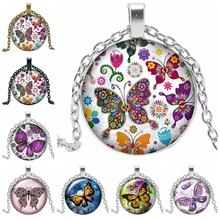 2019 New Fashion Charm Colorful Butterfly Time Glass Cabochon Necklace Birthday Gift Pendant Sweater Chain