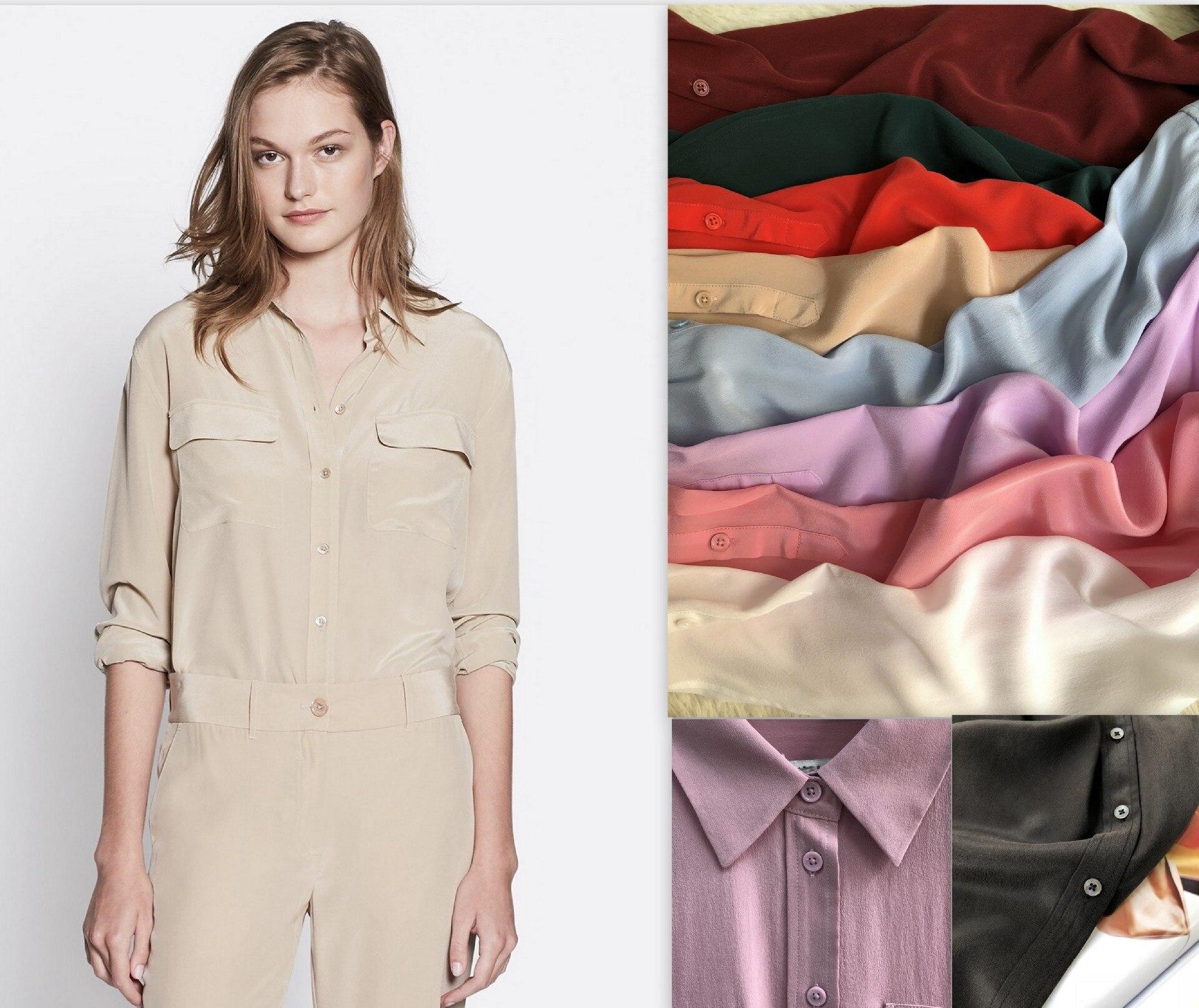 Vrouwen Shirt 2019 Zand Wassen Zijde Klassieke Dubbele Pocket Lange Mouwen Vrouwen Shirt Womens Tops en Blouses-in Blouses & Shirts van Dames Kleding op  Groep 2