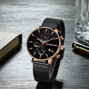 Image 4 - CURREN 메쉬 스트랩 스테인레스 스틸 쿼츠 시계 남성 캐주얼 남성 시계 크로노 그래프 및 자동 날짜 손목 시계 Reloj Hombre