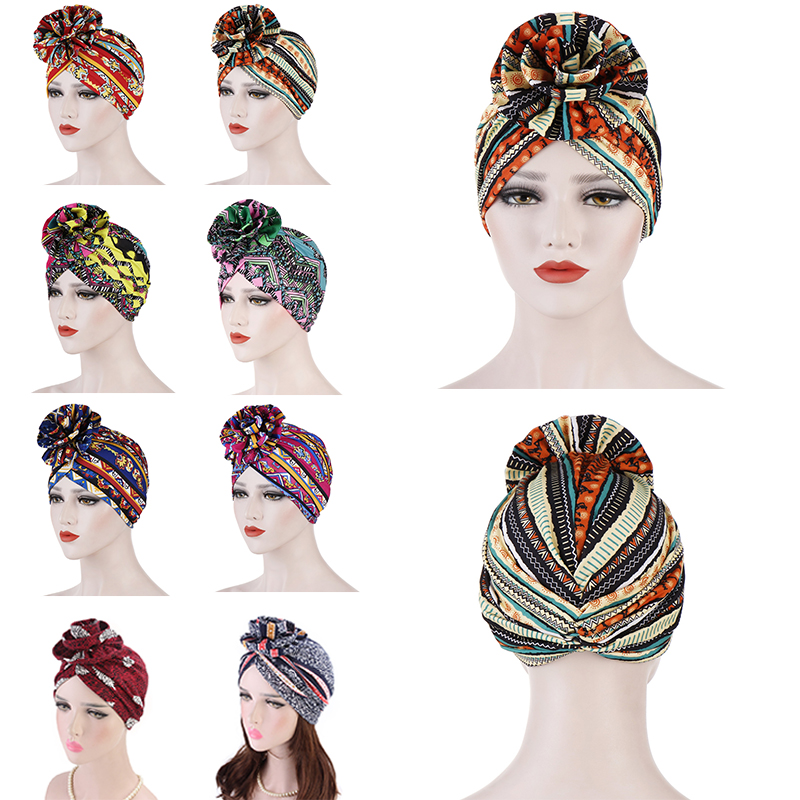 Fashionable Cotton 3D Flower Turban women beanie Chemo Cancer Cap Turbantes   Headwear   Bandana Wedding Party Hair Accessory